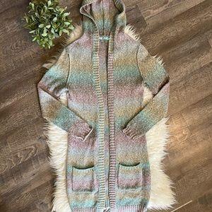 Maurices Rainbow long hooded cardigan